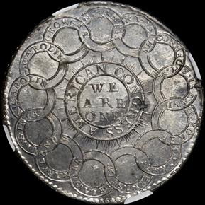 1776 PEWTER 'EG FECIT' CONTINENTAL S$1 MS reverse