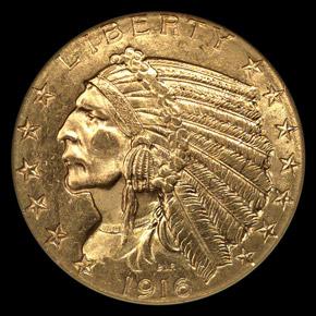 1916 S $5 MS obverse