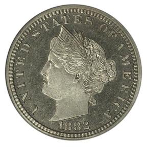 1882 J-1680 5C PF obverse