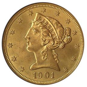 1901 S $5 MS obverse