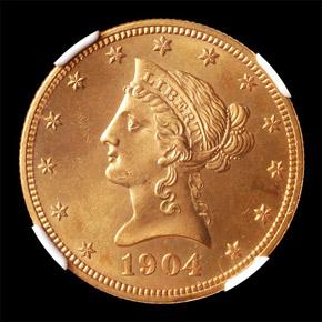 1904 $10 MS obverse