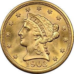 1903 $2.5 MS obverse