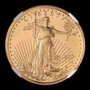 1999 W EAGLE WITH W G$5 MS obverse