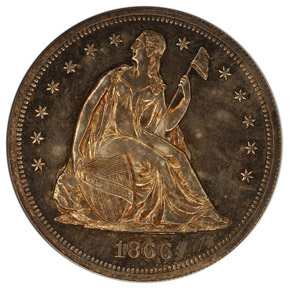 1866 NO MOTTO S$1 PF obverse