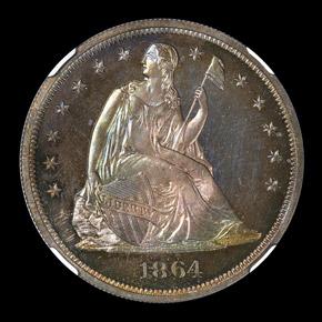 1864 S$1 PF obverse