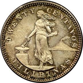 1904 USA-PHIL 20C MS obverse