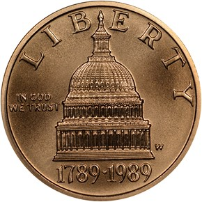 1989 W CONGRESS $5 MS obverse