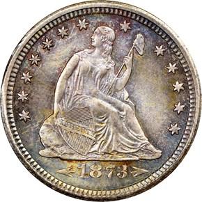 1873 S ARROWS 25C MS obverse