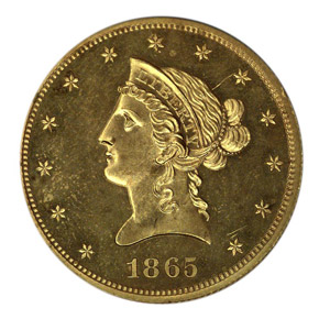 1865 J-450 GILT $10 PF obverse