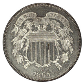 1865 J-408 SILVER PLATED 2C PF obverse