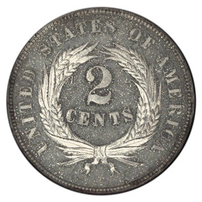 1865 J-408 SILVER PLATED 2C PF reverse