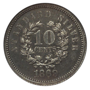 1869 J-708 10C PF reverse