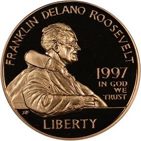 1997 W F.D. ROOSEVELT $5 PF obverse