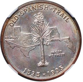 1935 SPANISH TRAIL 50C MS reverse