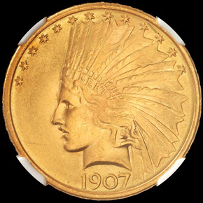 1907 INDIAN $10 MS obverse