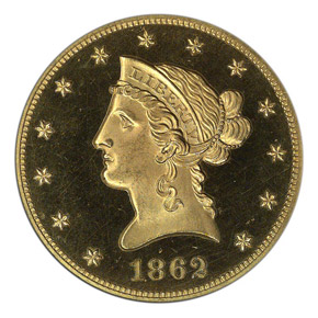 1862 $10 PF obverse