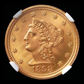 1898 $2.5 MS obverse