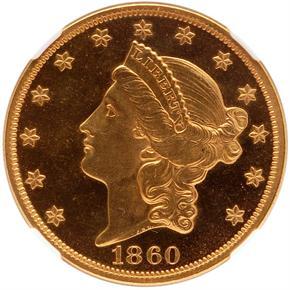 1860 $20 PF obverse