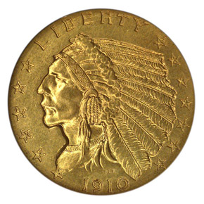 1910 $2.5 PF obverse