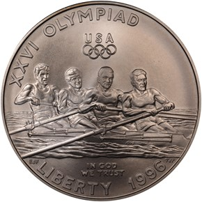 1996 D OLYMPICS ROWING S$1 MS obverse