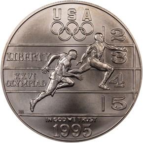 1995 D OLYMPICS TRACK & FIELD S$1 MS obverse