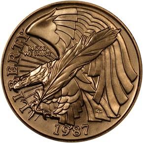 1987 W CONSTITUT $5 MS obverse