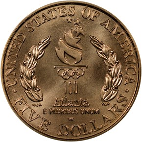 1996 W OLYMPICS CAULDRON $5 MS reverse
