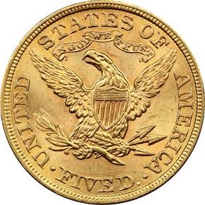1899 $5 MS reverse