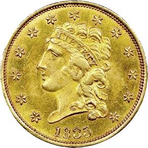 1835 $2.5 MS obverse