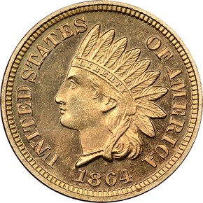 1864 COPPER NICKEL 1C PF obverse