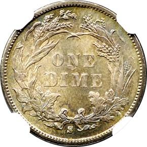 1891 S 10C MS reverse