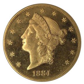 1884 $20 PF obverse
