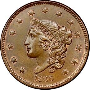 1836 1C MS obverse