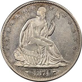 1874 ARROWS 50C MS obverse