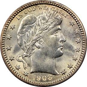 1908 S 25C MS obverse