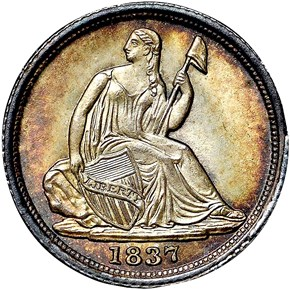 1837 SEATED H10C MS obverse