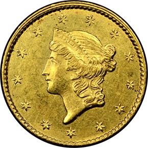1849 C CLOSED WREATH G$1 MS obverse