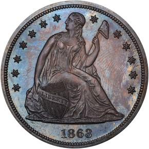 1863 S$1 PF obverse