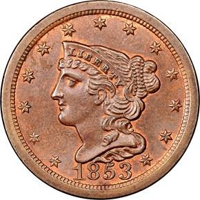 1853 C-1 1/2C MS obverse