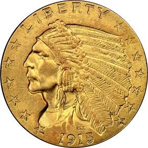 1915 $2.5 MS obverse