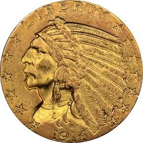 1914 $5 MS obverse