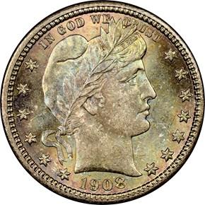 1908 D 25C MS obverse
