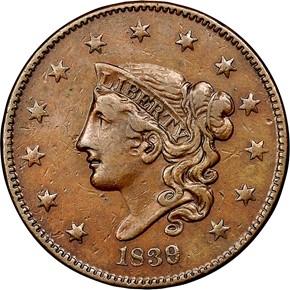 1839/6 HEAD OF 36 N-1 1C MS obverse