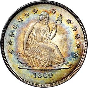 1840 O NO DRAPERY 25C MS obverse
