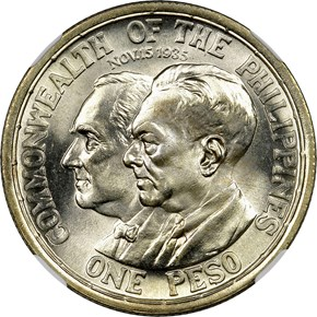 1936 M USA-PHIL ROOSEVELT-QUEZON PESO MS obverse