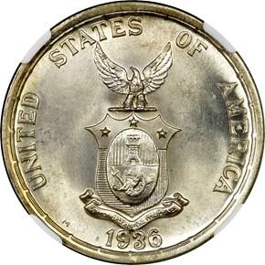 1936 M USA-PHIL ROOSEVELT-QUEZON PESO MS reverse
