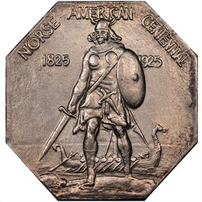1925 NORSE AMERICAN THIN SILVER MEDAL MS obverse