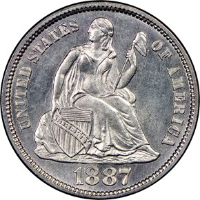 1887 S 10C MS obverse