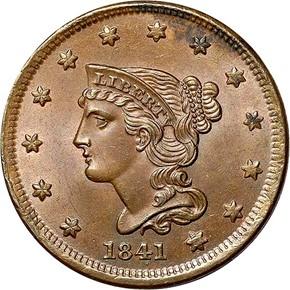 1841 1C MS obverse