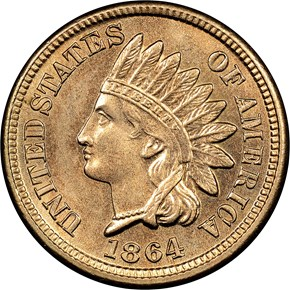 1864 COPPER NICKEL 1C MS obverse